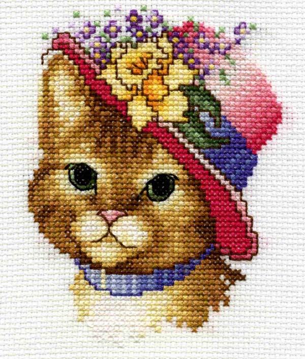 Схема вышивки «Кошка в шляпе» - Вышивка крестом