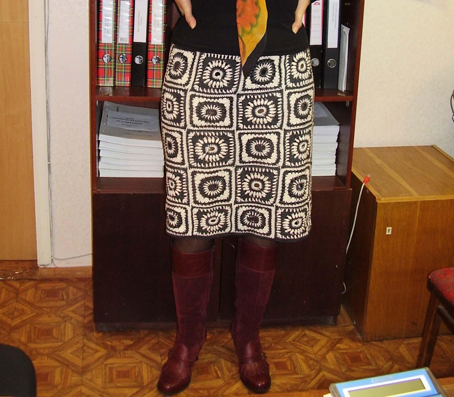Прямая вязаная юбка крючком из квадратов, схема вязания 3