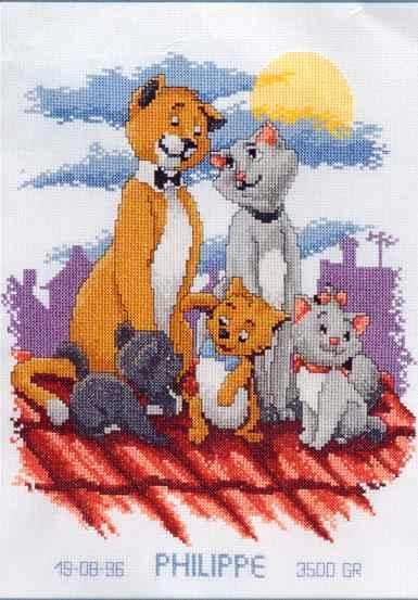 Кошачье семейство вышивка крестом 61