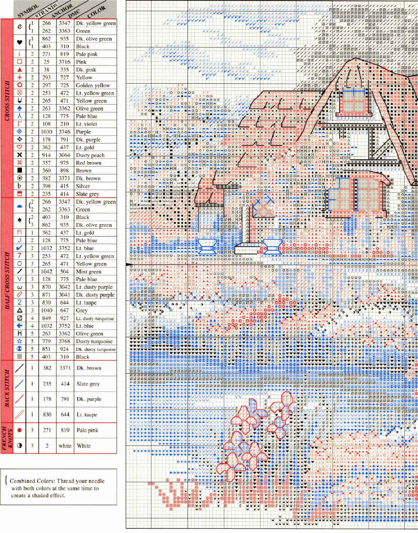 Схема вышивка крестом японский мостик 20