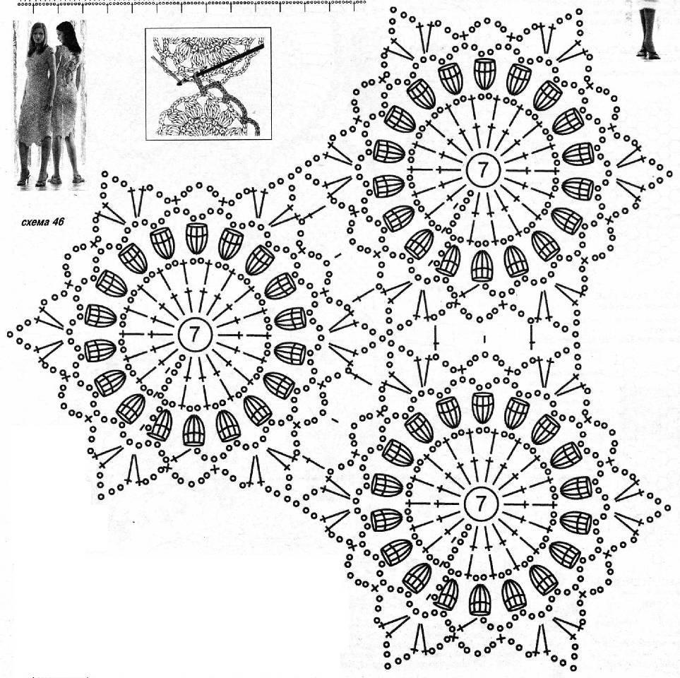 Вязание крючком элементами схемы