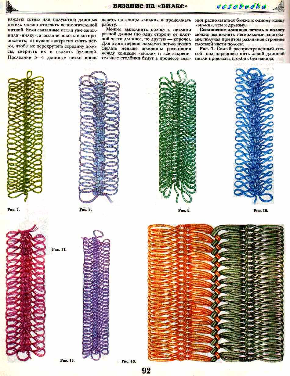 Вязание резинок на вилке