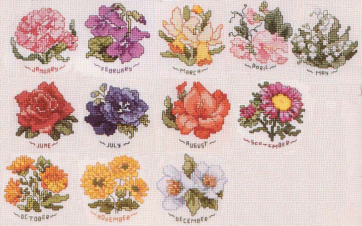 Вышивка мелкая цветы