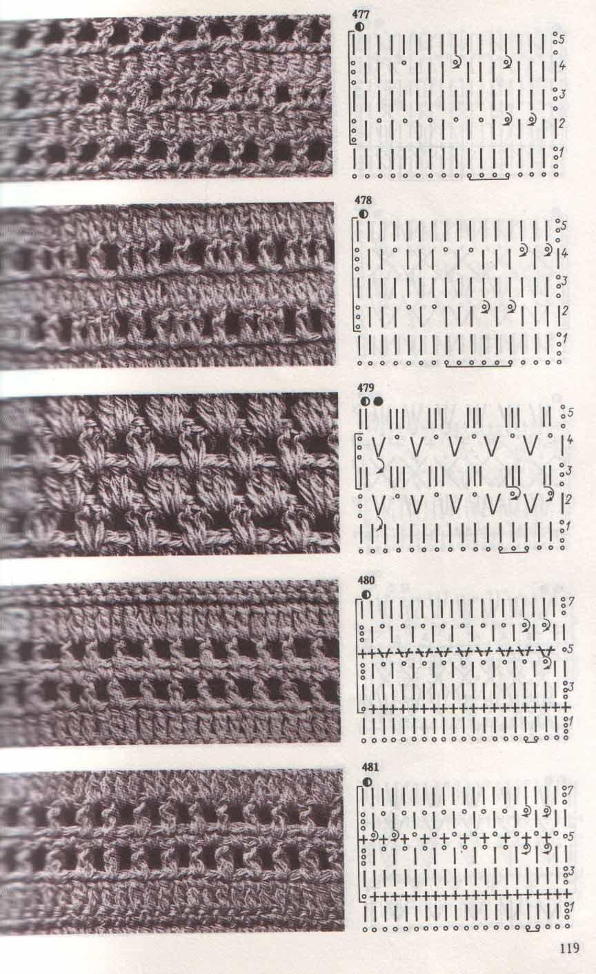 Ажурные полосатые узоры спицами схемы