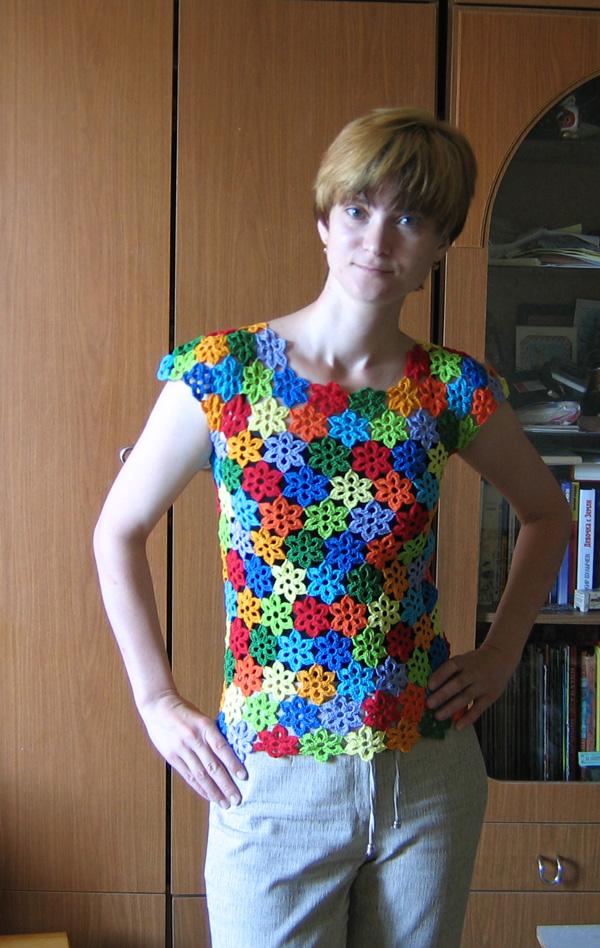 Блузки Вязаные Крючком Из Цветочков