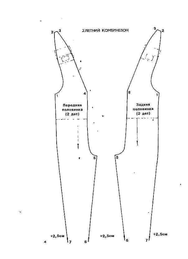 Выкройка комбинезона женского в натуральную величину