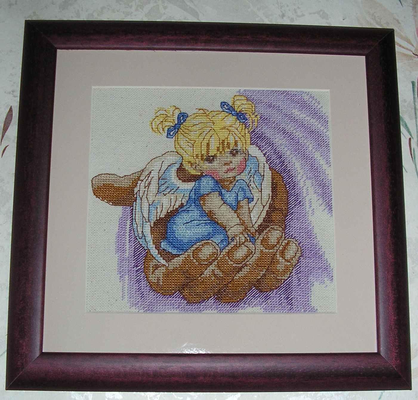 Вышивка крестом Ангел с кроликом - купить в интернет 45