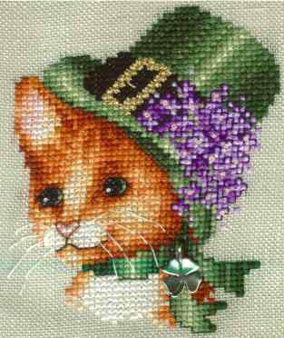 Вышивка кошка в шляпе 30