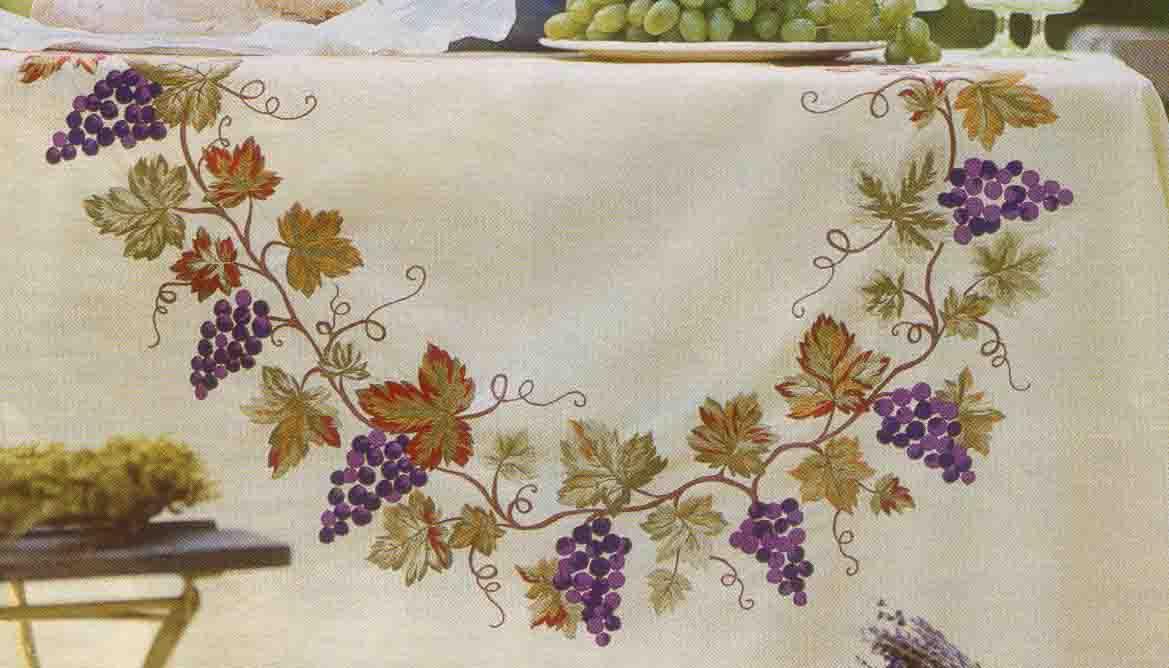 Вышивка гладью виноградной лозы