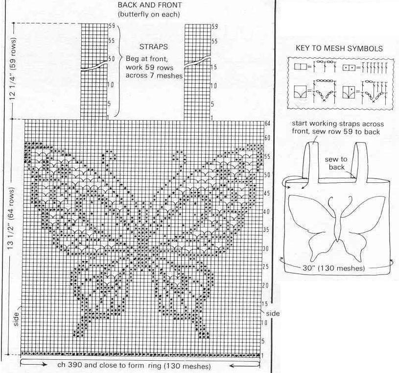 Филейное вязание топа схемы