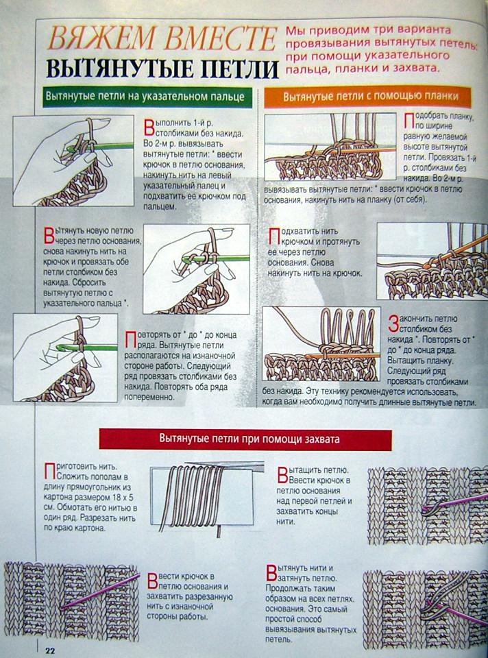 Схема вязания вытянутых петель спицами 36