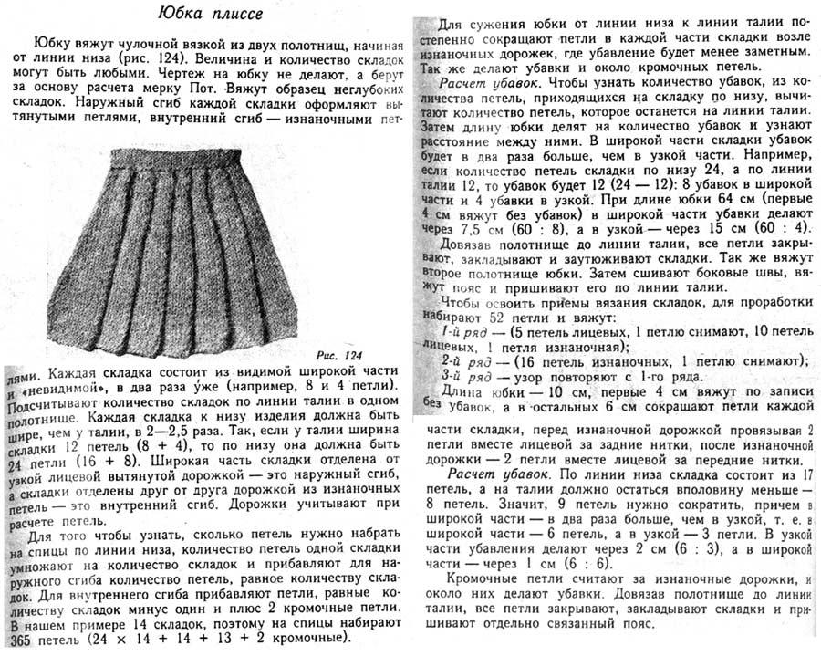 Юбка для девочек Вязание изнаночных петель на