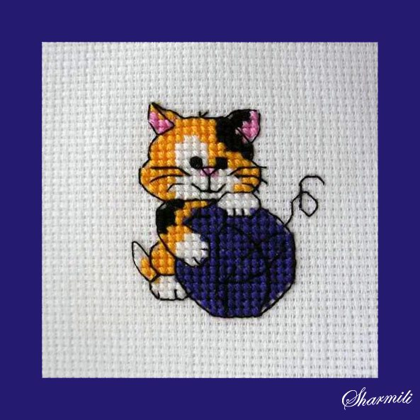 Котенок с клубком вышивка 45