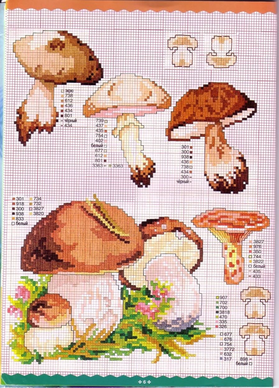 Вышивки крестом грибов в корзинах