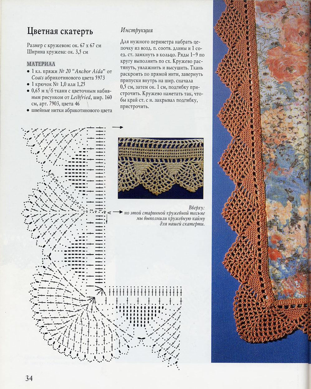 Подробное описание вязания каймы крючком
