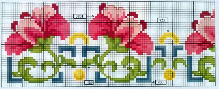 Рушник схема вышивки крестом цветы