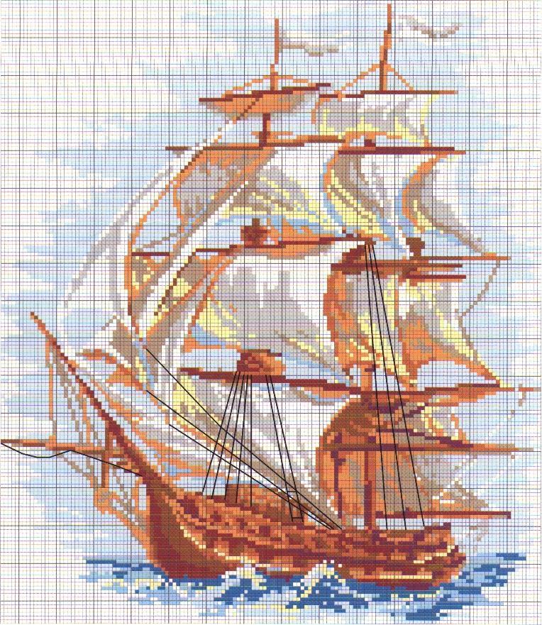 Схемы вышивок парусник
