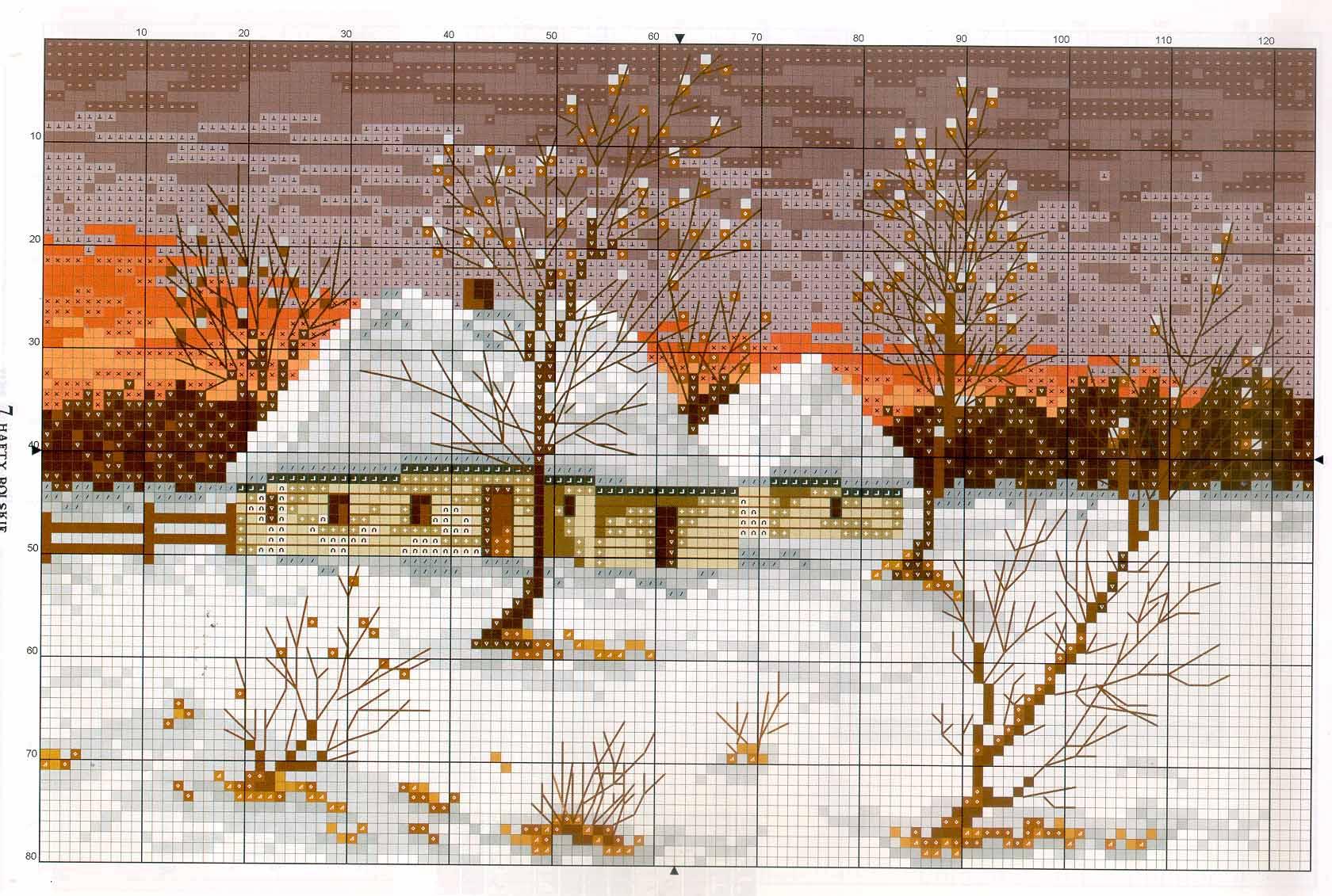 Схема вышивки крестом 'Зимний пейзаж #2'