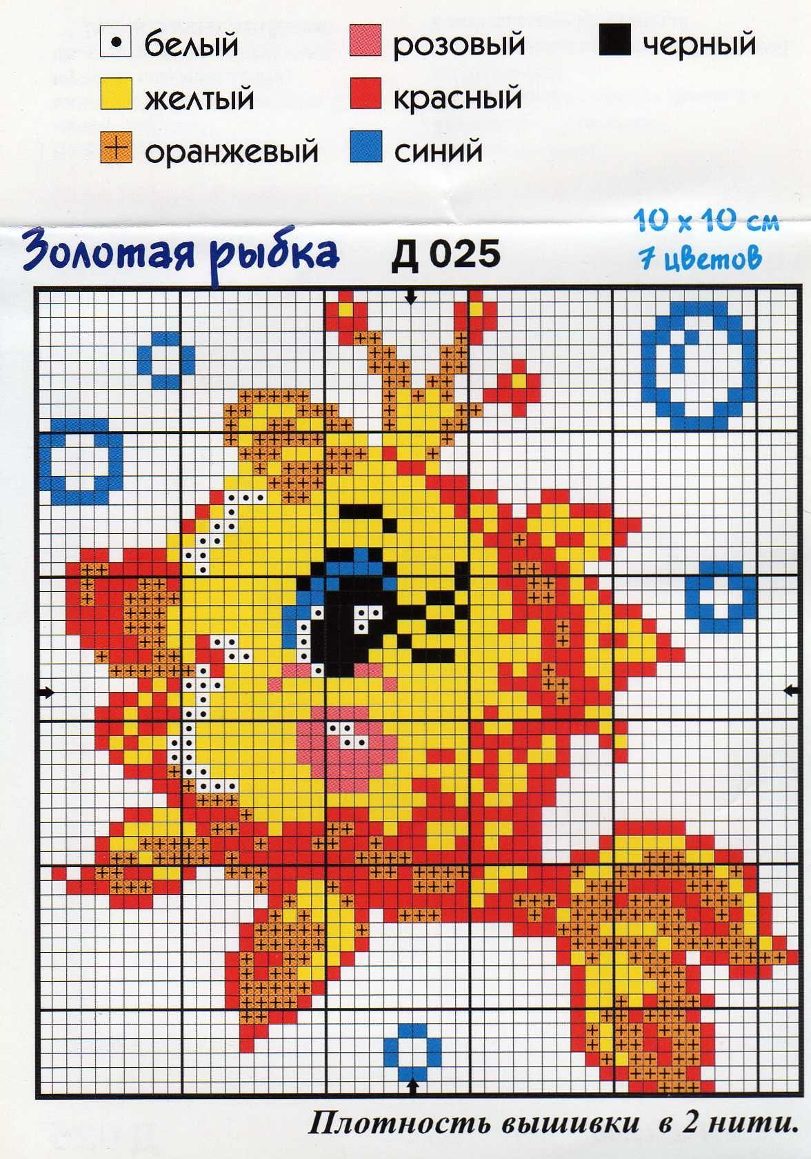 Золотая рыбка схема вышивки крестом