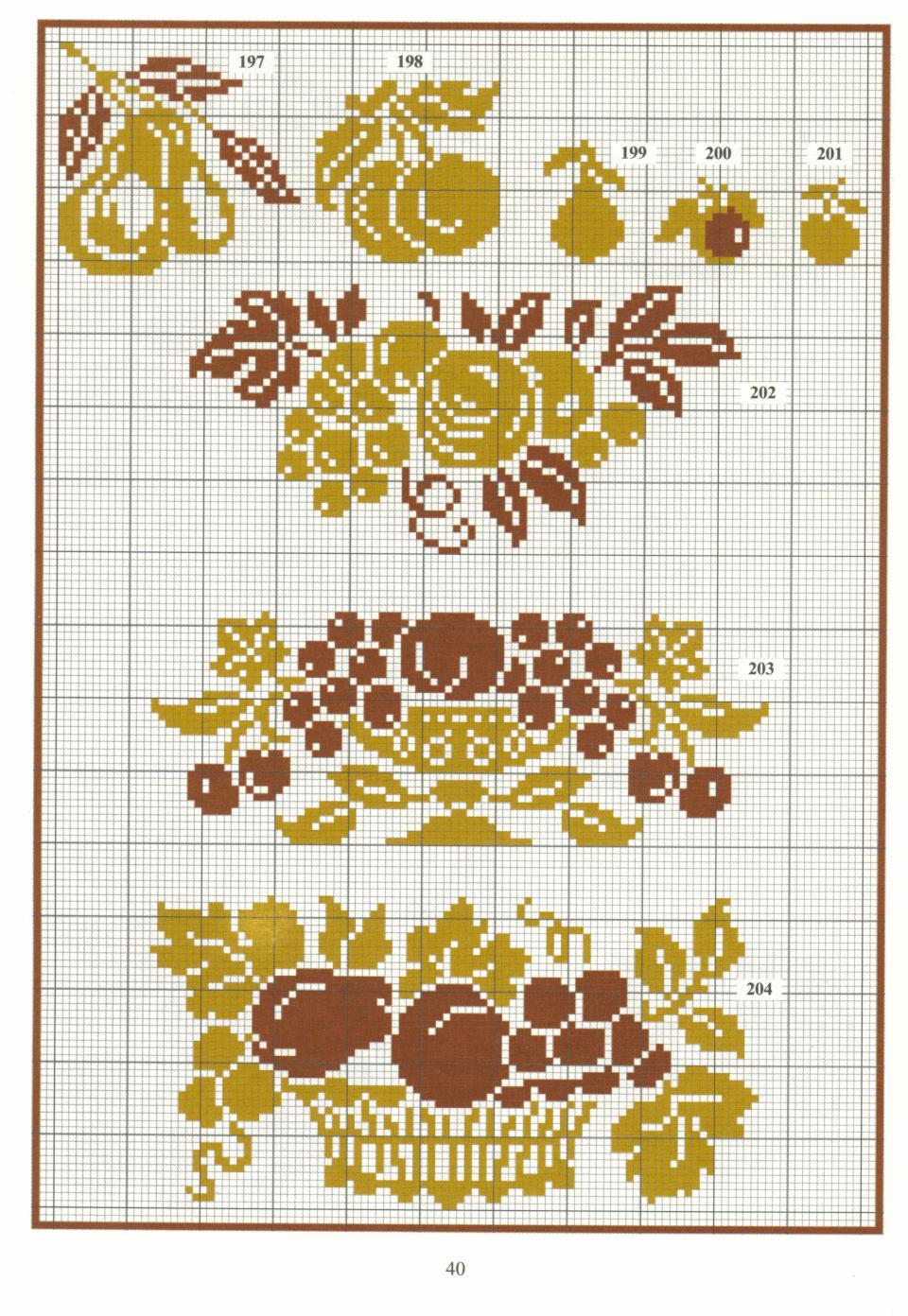 фрукты схемы филейного вязания