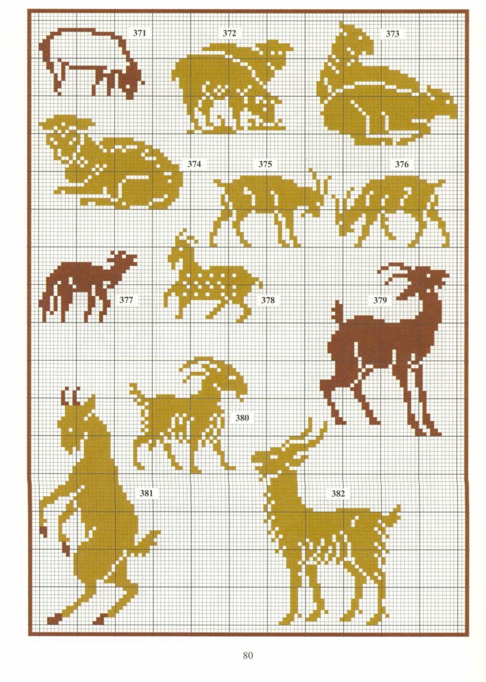Монохромная вышивка животные схемы