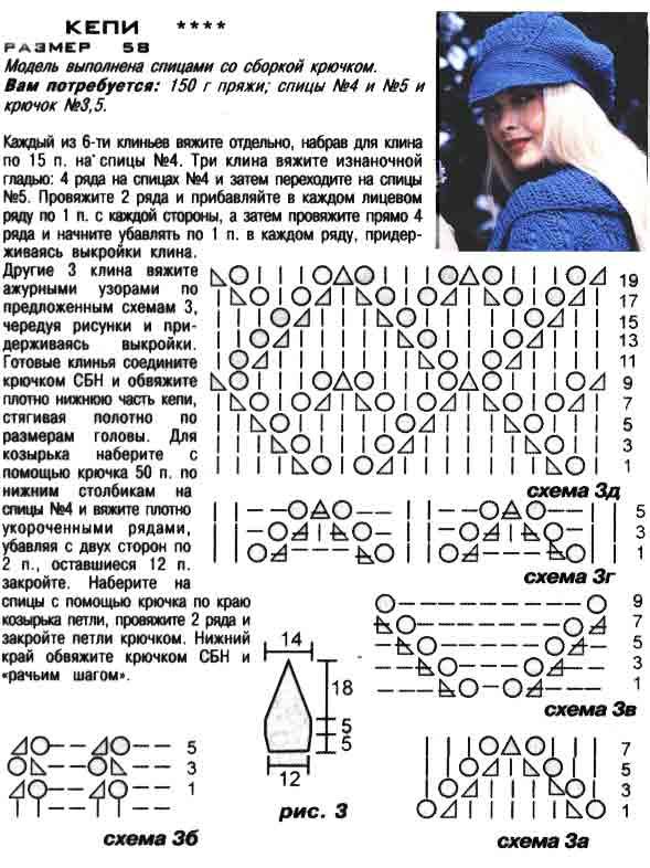 Кепи спицами схемы и описание