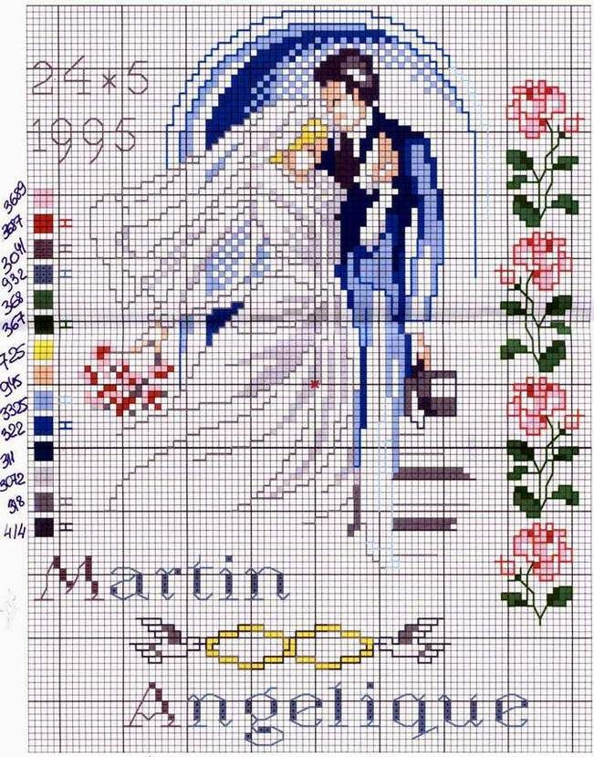 Скачать схему для вышивки крестом свадебной метрики