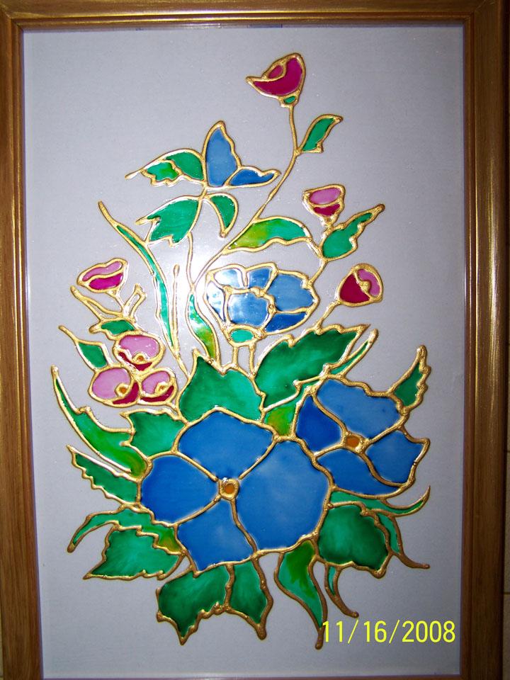Трафареты витражей красками на стекле своими руками 58
