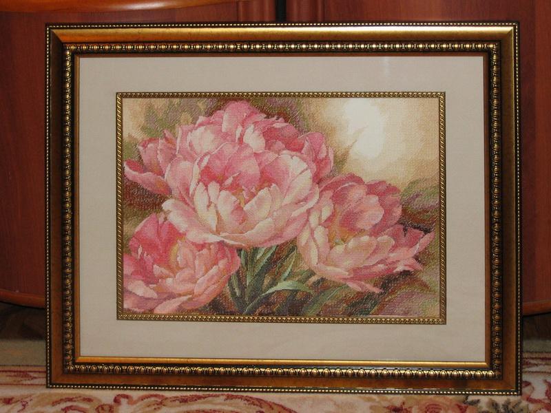Вышивка розовые тюльпаны 57