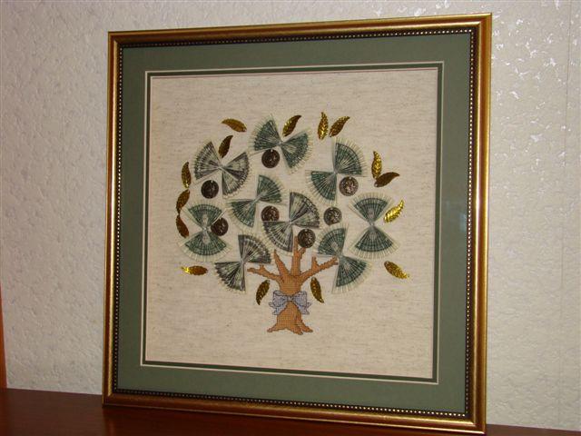 Картина денежное дерево из бумажных купюр своими руками