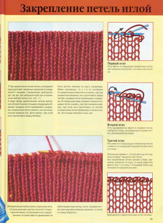 Как закончить вязание иголкой