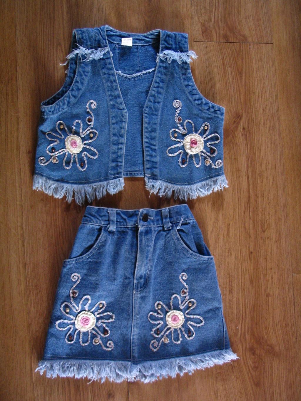Как сшить джинсовую юбку для девочки из старых джинсов 95