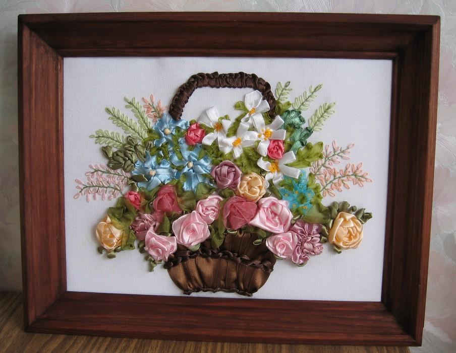 Вышивка лентами цветы в корзине фото 88