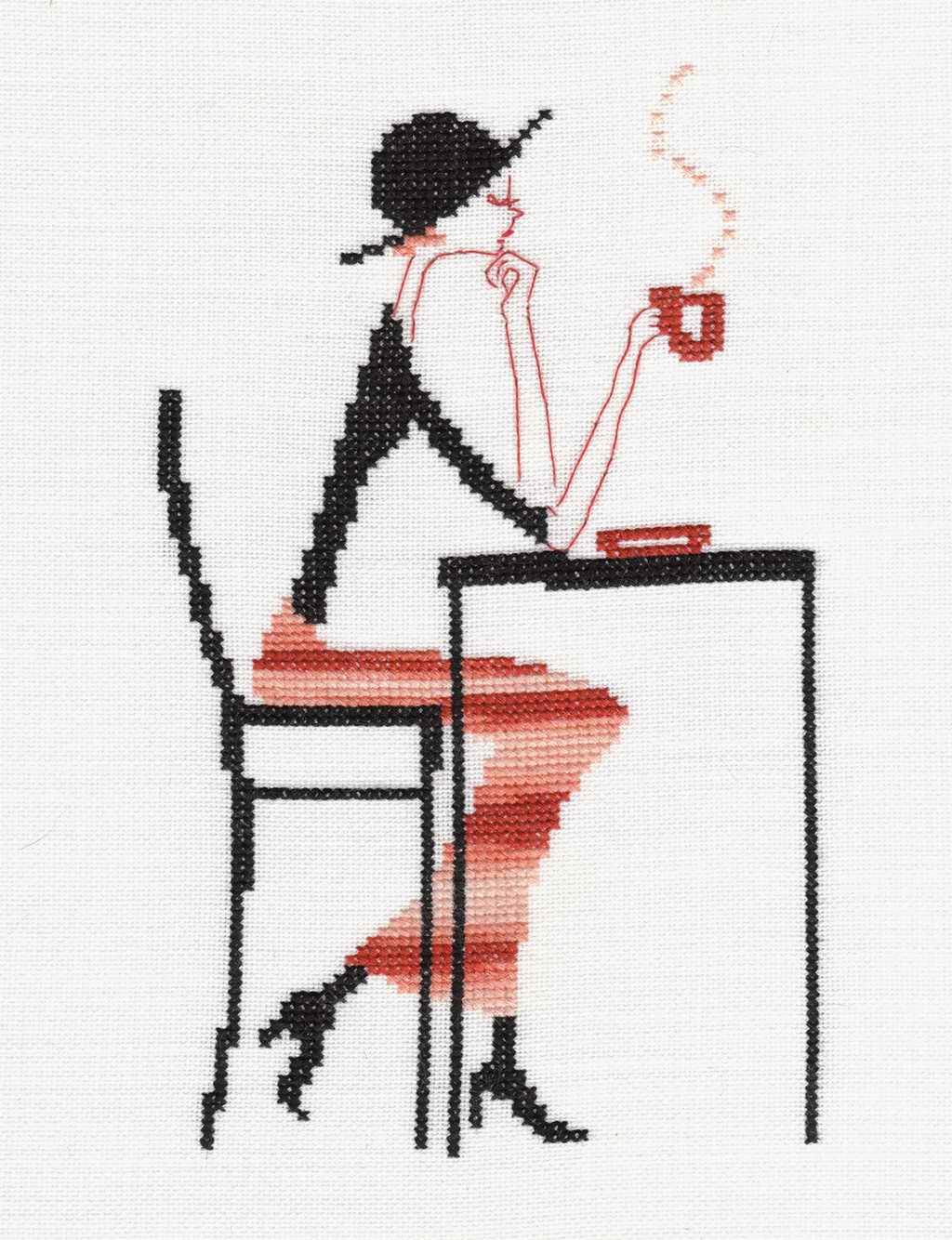 Схема вышивки «Девушка с кофе» - Схемы автора «jstar8» - Вышивка крестом 25