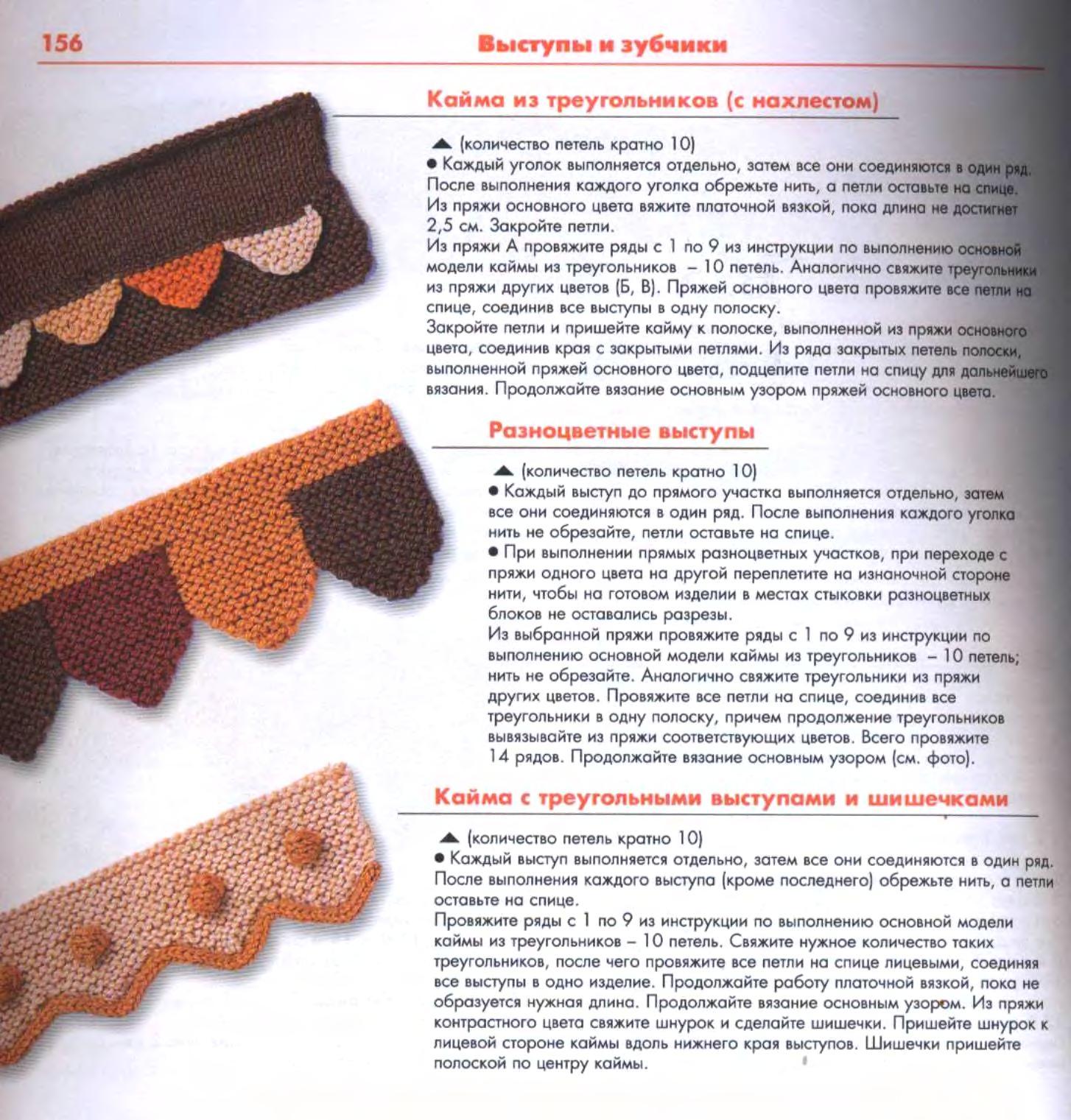Край вязания зубчиками на спицах