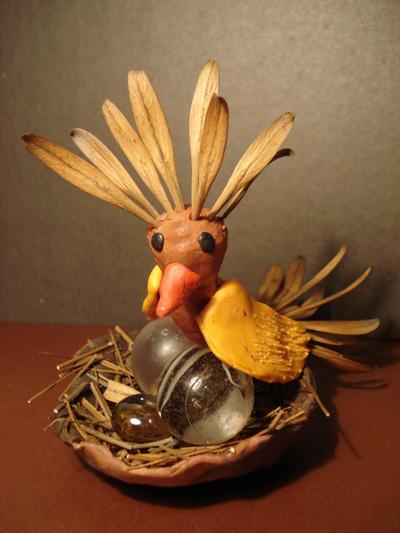 Птица из природного материала своими руками 29