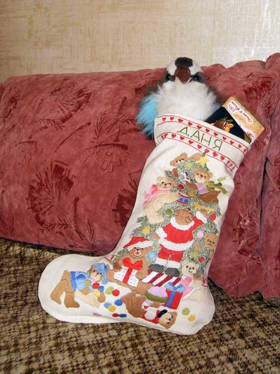 Носок новогодний с вышивкой