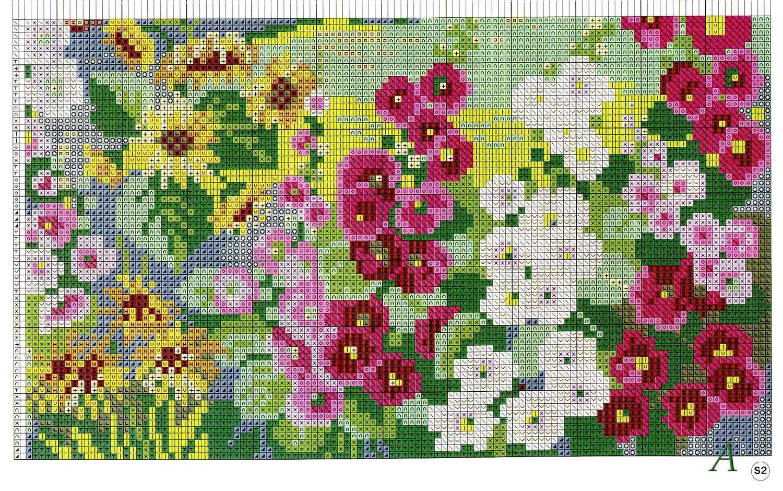Схема вышивки крестиком сад