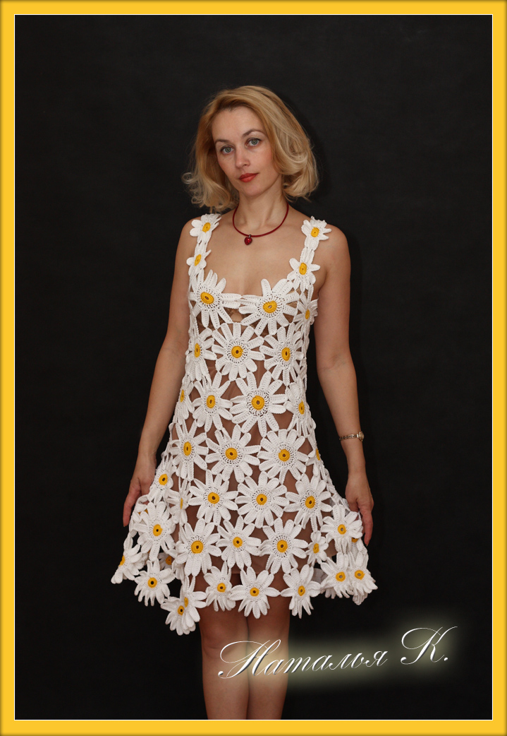 Вязание крючком ромашка платье
