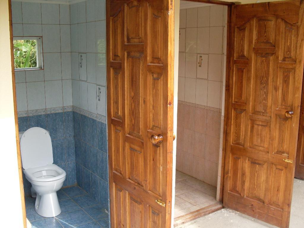 Душ и туалет на даче из кирпича своими руками