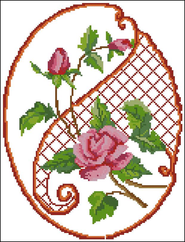 Схема Для Вышивки Крестом Цветы На Решетке