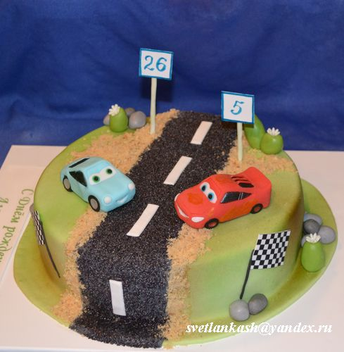 Торт Тачки у дороги. Мои торты. Фотоальбом участника svetLanka