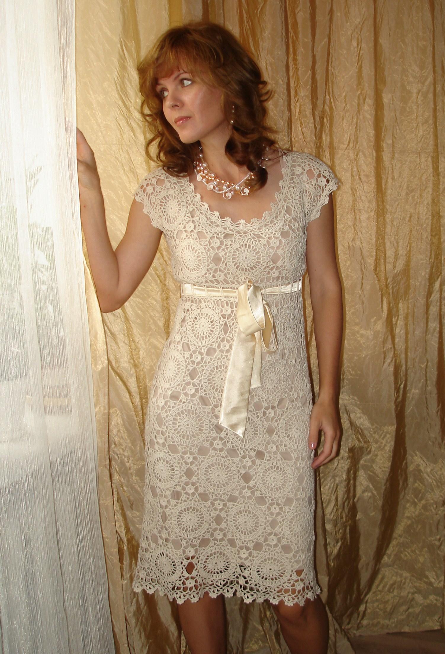 вязаное крючком платье для девочки до года со схемой