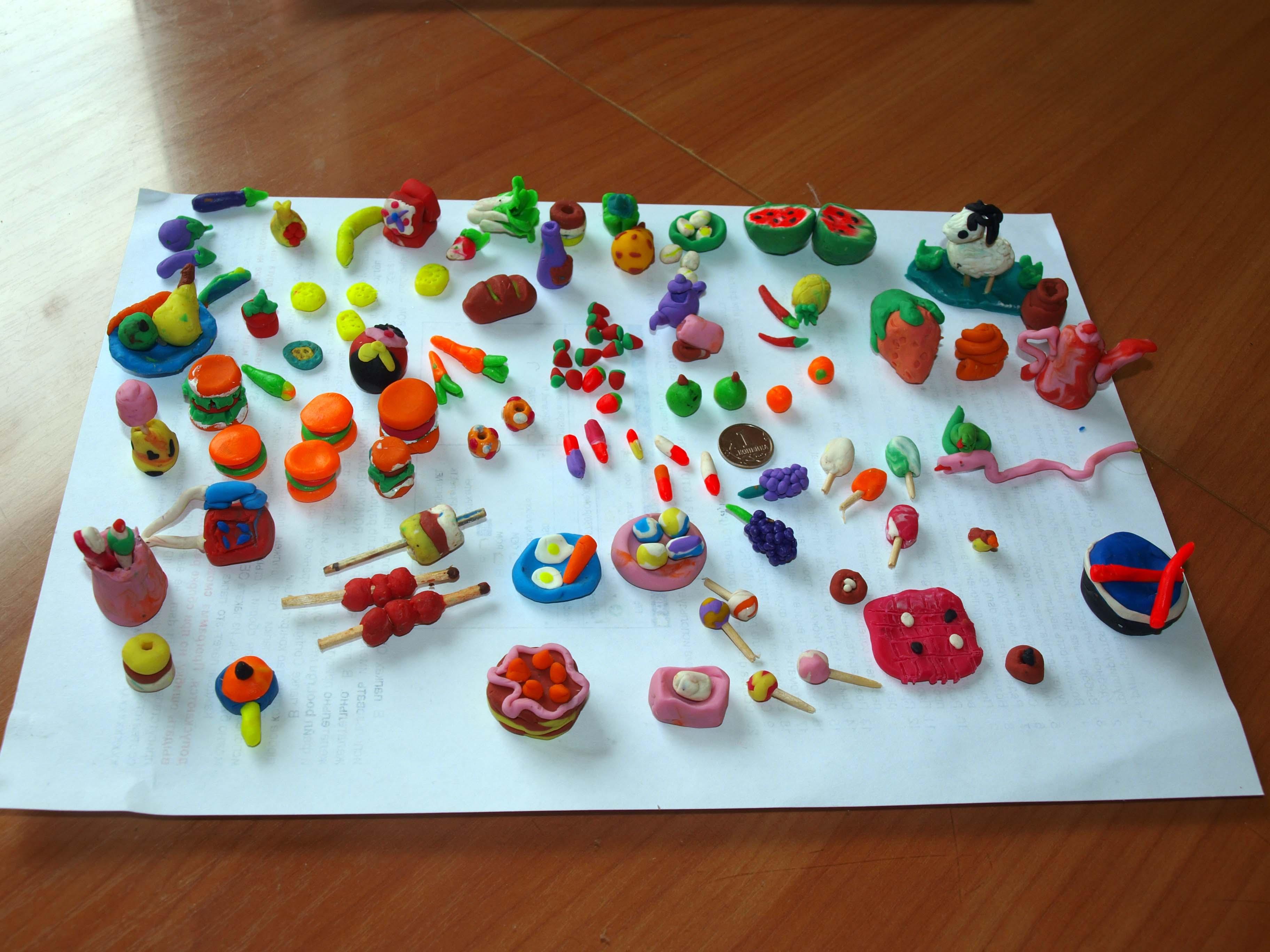 Фото поделок из пластилина еда