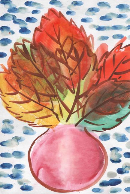 Рисунок осеннего букета в вазе