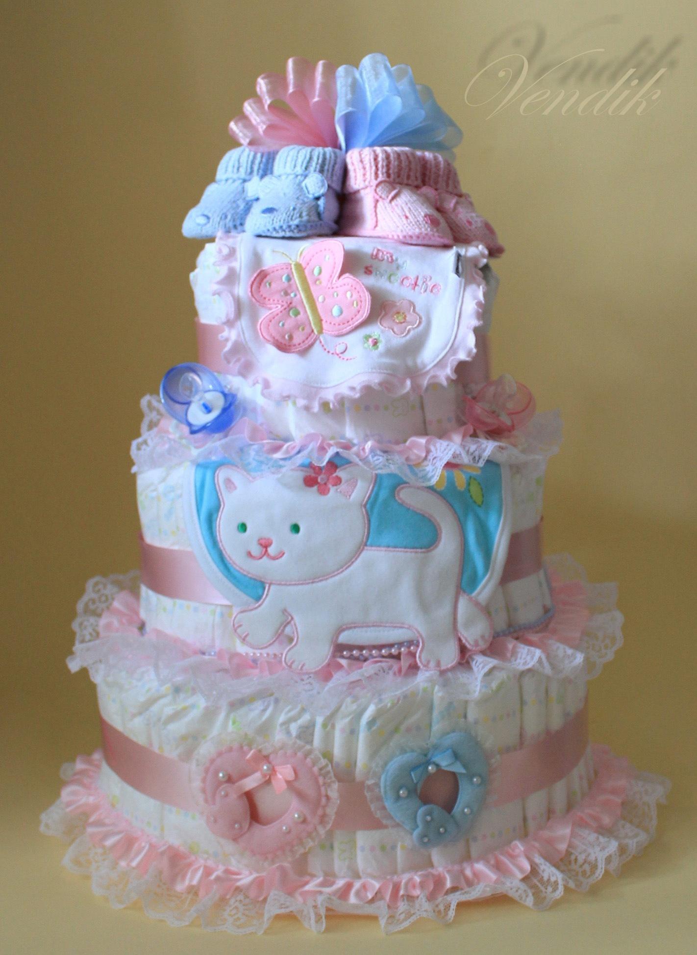 Торт из памперсов фото для девочек своими руками