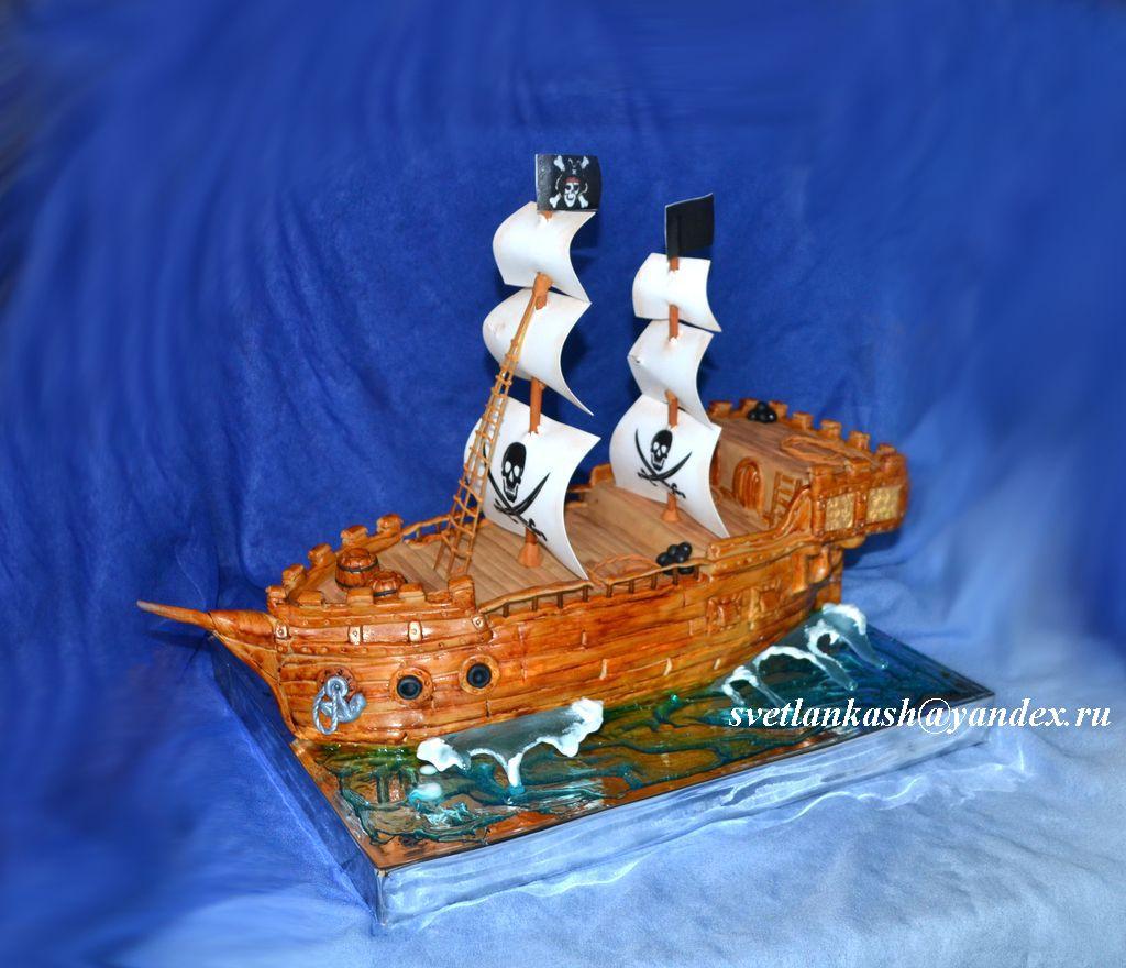 Пиратский корабль на торт