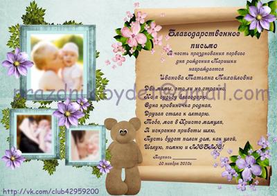 Письмо для крестной на первый день рождения Плакат сувенир  Комментировать