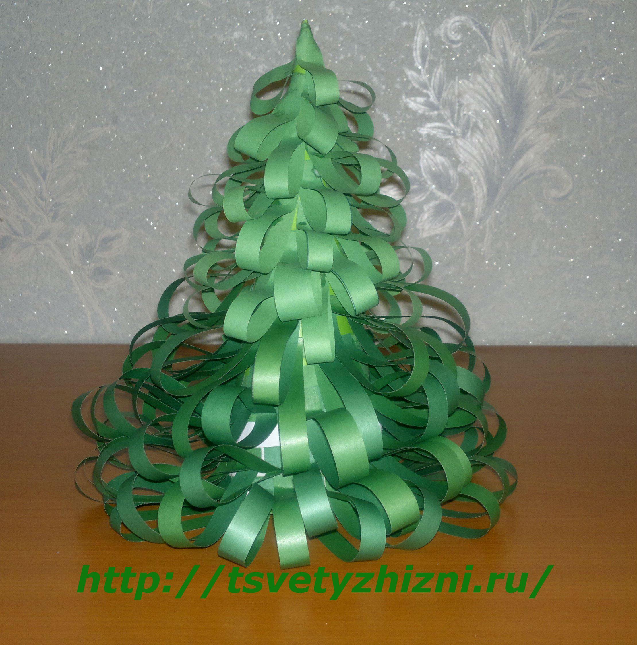 Как сделать елку из цветной бумаги своими