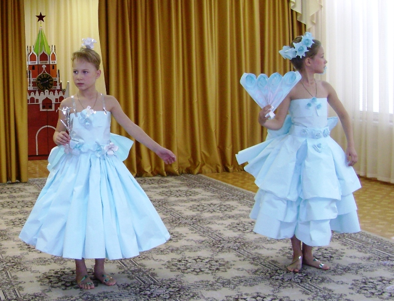 Платье из гофрированной бумаги своими руками на конкурс для девочки 34